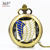 Wholesale Titan Watches Wholesale - Vintage Bronze Attack on Titan Wings Animation Style Necklace Steampunk Pocket Watch Boy Girls Best Gift