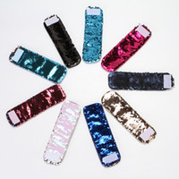Wholesale Bangle Kid - Double color Reversible Sequin Mermaid Bracelet for Girls Magic Bangle bling bling Christmas Gifts for kids 21.5*6.3cm