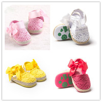 Wholesale Elastic Ribbon Pink - Spring Summer Baby hollow cotton sandal Girls ribbon bowknot elastic losure crochet pre walkers toddlers soft sole anti-slip prewalker 3colo