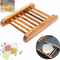Wholesale Storage Box Wood Container - Dark Wood Soap Dish Wooden Soap Tray Holder Storage Soap Rack Plate Box Container for Bath Shower Plate Bathroom #4156