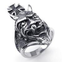 Wholesale Stainless Steel Cross Skull Rings - 071114-Wholesale!Fashion Cool Popular Men's Cross Ring Skull Ring Jewelry,Stainless Steel Rings Punk Ring,Size:8-12
