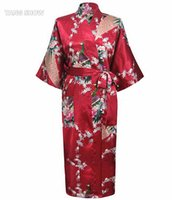 Wholesale Ladies Long Bath Robe - Wholesale- New Arrival Burgundy Ladies Sexy Summer Nightgown Long Style Robe Bath Gown Kimono Yukata Gown Size S M L XL XXL XXXL NR109