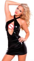 Wholesale Disfraz Sexy - New European Sex Products Patent Leather Plus Size XL Black Latex Sexy Dress Women Erotic Lingerie Disfraz Mujer Sexy Uniform