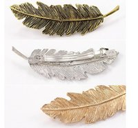 Wholesale Hairpins Blank - Fashion Feather-shaped Hair Barrette Hair clip Blank Hairpin Jewelry Beautiful Barrettes Fashion hair accessories free shipping