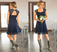 Wholesale Short Bridemaid Dresses Yellow - 2017 Country Short Bridesmaid Dresses Capped Sleeves Navy Blue Above Knee Length Lace Bridemaid Gowns Party Maid Of Honor