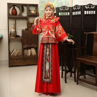 Wholesale Evening Long Sleeves Winter Dress - Red color US2-US10 Custom made 2017 New fashion winter chinese tradition cheongsam long sleeve embroidery evening dress