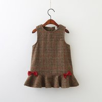 Everweekend Kids Girls Sleeveless Plaid Ruffles Cute Dress Baby Girls Bow Lovely Western Dress Grey Brown Color Dress