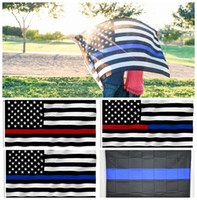 Wholesale police flags - 90*150cm BlueLine USA Police Flags 5 styles 3x5 Foot Thin Blue Line USA Flag Black White And Blue American Flag With Brass Grommets 10pcs