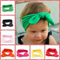 Wholesale Ear Flowers - 8 colors Children's Headbands baby Flower rabbit ears headdress flowers cloth baby fashion hair ornaments and Hair Sticks 29