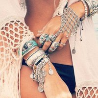 Wholesale Footing Design - Vintage tribal chic turkish alloy silver floral design boho bracelet Cuff Coin Bracelets Tassels Foot Chais Anklets Ring Bangle Body Jewelry