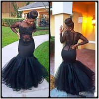 Wholesale Cheap Abayas - Sexy See Through 2017 Mermaid Prom Dresses Black Lace Evening Party Dresses With Long Sleeves Dubai Abaya Arabic Cheap Girls Pageant Gowns