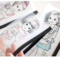 Wholesale Paper Doll Pencil - 20 pcs lot kawaii paper doll mate pencil case cute korean style PVC Transparent waterproof pencil bag  Wash bag Storage bag