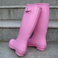 Wholesale Men S Tall - Original men women s tall Knee-high Snow rain boots low heels knee high waterproof welly boots rainboots water shoes for adult