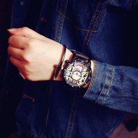 Wholesale Stylish Boys Watches - Fashion Graffiti Stylish Big Dial Rubber Strap Japan Core Quartz Analog Wrist Watch Hours Gift for Men Male Boy