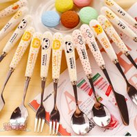 Wholesale Ceramic Baby Spoons - Wholesale- Cute Animal Spoons Fork Tableware Stainless Steel Ceramics Handle Travel for Family Baby Children C8