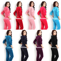Wholesale Hoodies Ladies Sport - Velour Tracksuits Jogging Bottoms Sweatpants Tracksuit Tops Women Velvet Fabric Tracksuits Velour Suit Lady Sport Track suit Hoodies & Pants