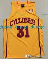 Wholesale Cheap Acrylic Letters - high quality Cheap #31 Georges Niang Iowa state Jersey,Men's Red White Yellow Stitched Basketball Jersey