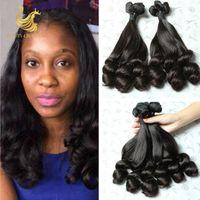 Wholesale Double Drawn Virgin - 7A Double Drawn Virgin Funmi Hair Extension 3 Bundles Brazilain Hair Aunty Funmi Hair Loose Wave Bouncy Curls Funmi Remy Human Hair Wave