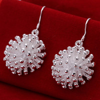 Wholesale Sterling Silver Fireworks Charm - Brand new Fireworks sterling silver plate earring fit women,wedding 925 silver charms earrings EE114