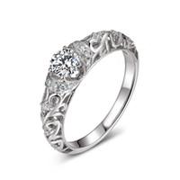 anillos barrocos al por mayor-Anillo de bodas de diamante simulado híbrido clásico de plata de ley 925 con elegante patrón barroco