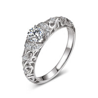 Wholesale Hybrid Sets - Classic 925 Sterling Silver Hybrid Simulated Diamond Wedding Ring with Elegant Baroque Pattern