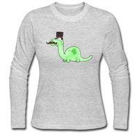 Wholesale Women Humor Shirt - Humor family long tee shirts woman's soft O-collar long-sleeves tops size S-2XL slim T-shirt for girl A Gentleman s Dinosaur