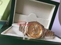 relógios de luxo venda por atacado-Caixa Original + Luxo dos homens Automáticos de Ouro Amarelo Sky Assista Homens Data Dual Fuso Horário Morador Calendário Anual 326938 2813 movimento dos Homens de Wat