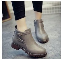 Wholesale Plush Alligators - 2017 autumn and winter new female boots British wind retro matte flat bottom Chelles boots women size 35-40 Free Shipping