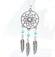 Wholesale Statement Chains - 2016 Fashion hot Pendant Necklaces 4 Styles Alloy Dream Catcher girl Necklace For Women Statement Necklace Jewelry Dreamcatcher NK27