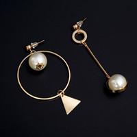 Wholesale Triangle Dangle Earrings Fashion - 2Pcs Lot Earrings 2018 New Fashion Asymmetric Geometic Triangle Dangle Earrings Simulated Pearl Jewelry Long For Women Brincos