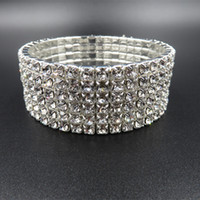 Wholesale Bow Bangles - New Sparkly 6 Bow Rhinestone Crystals Bangle Bracelet For Wedding Prom Party Bridal Jewelry Accessories Cheap In Stock 2016