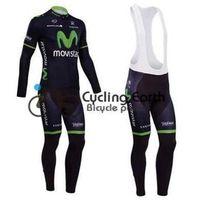 Wholesale Movistar Long Sleeve - 2015 movistar team Winter fleece jerseys with long sleeve clothes coat+bib pants, bicycle wear