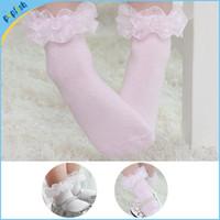 Wholesale Socks Antislip Baby - Free shipping ( 50 pairs lot ) Girls solid plain white pink 0-4T antislip fancy boot baby lace socks