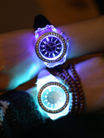 Wholesale Silicone Watch Led Light - 2016 Fashion Silicone Rhinestone Watch LED Luminous Colorful Lights Watches Women Ladies Quartz Wrist watch relogio masculino