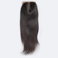 Wholesale human hair silk closure online - Brazilian Straight Silk Base Closure Free Part Remy Human Hair Closure Bleached Knots With Baby Hair Top Closures