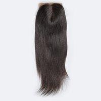 fermetures de soie achat en gros de-Fermeture droite brésilienne droite en soie partie libre fermeture de cheveux remy fermés noeuds blanchis avec des fermetures de cheveux de bébé