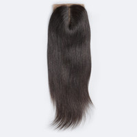 Wholesale Silk Base Closure Middle Part - Brazilian Straight Silk Base Closure Free Part Remy Human Hair Closure Bleached Knots With Baby Hair Top Closures