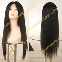Wholesale Ladies Stocking Lace - 100% Brazilian Virign Remy Human Hair Free shipping 10-22 inch STOCK Silky Straight African American Glueless Full Lace Wig &Front Lace Wig
