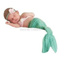 Wholesale Infant Knit Mermaid - Newborn Infant Baby Green Mermaid Hairband Bro Tail Set Handmade Knit Crochet Baby photo props Outfit Costume animal backpack