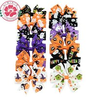 Детский Хэллоуин Hairclip Bow Halloween Pumpkin Hair Clip Girl Barrette Fall Hair Accessories Fabric Bows Бесплатная доставка