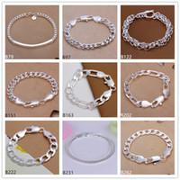 silber kreis link armband großhandel-Kreise Schlangenkette Garnelen Schnalle Sterling Silber Armband 8 Stück gemischten Stil GTB28 Mode Burst Modelle Herren 925 Silber Armband
