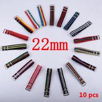 Wholesale 22mm nylon - Wholesale-Hot Wholesale 10pcs lot Watchband 22MM Nylon Strap Nato Strap Waterproof Watch band -45 color available