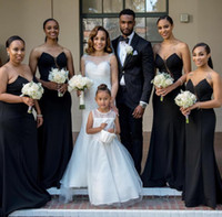 junioren fallen kleider großhandel-2016 neueste Sexy V-ausschnitt Black Mermaid Günstige Nigerian Lange Junior Großhandel Herbst Prom Brautjungfernkleider
