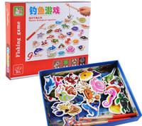 ahşap balıkçılık oyuncaklar toptan satış-32 parça Bebek Ahşap manyetik balıkçılık oyunu bulmaca oyuncaklar çocuklar bebek komik Bulmacalar Oyuncak çocuk doğum günü Hedi ...