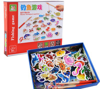 Wholesale Magnetic Game Set - 32 piece Baby Wooden magnetic fishing game puzzle toys kids infant funny Puzzles Toy children birthday Gift toy set with colorful box