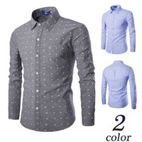 Wholesale Fits Commercial - Fashion New terylene oxford lawn five-pointed star Printing Men's Commercial Long-sleeved Slim Fit Casual Shirt #C809