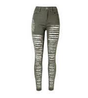 Wholesale Modern Woman Coats - WJ003 west fashion new hot army green skinny slim 100% cotton women distressed ripped denim jeans pants