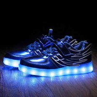 Usb Light Shoes online - The spring and autumn period and the movement of the boy with wings lights flash usb charging light shoes children shoes LED luminous shoes