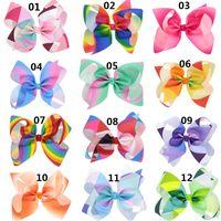 Wholesale Hair Dressing Kits - 2017 Rainbow Jojo hair cheer Bows baby Girls Children kids Trendy Hair head Accessories clips Birthday Party Dressing Up DIY kit