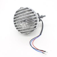 1X Shell Silver Chrome Fence Motorcycle Headlight LED H4 Driving Light Nebbia Sorgente luminosa Xenon External Fit per Harley